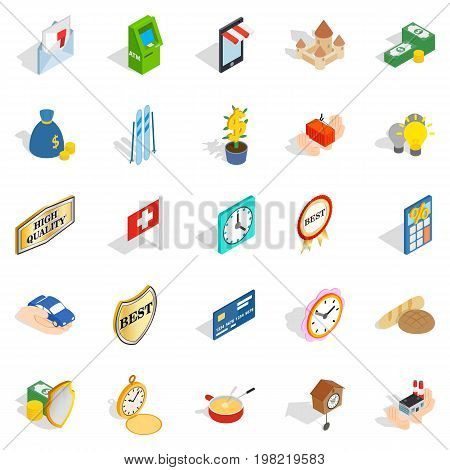 Specie icons set. Isometric set of 25 specie vector icons for web isolated on white background