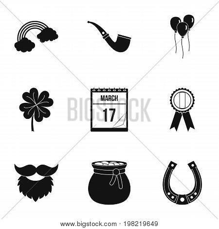 Irish holiday Patrick icon set. Simple style set of 9 irish holiday Patrick vector icons for web isolated on white background
