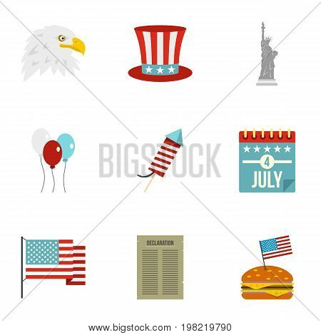 American independence holiday icon set. Flat style set of 9 independence day vector icons for web isolated on white background