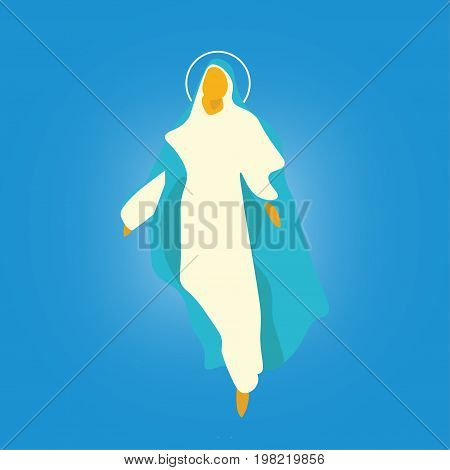 Vector illustration for: The Assumption of Mary into Heaven,  also known as the Feast of Saint Mary the Virgin and the Falling Asleep of the Blessed Virgin Mary or Dormition of the Mother of God.