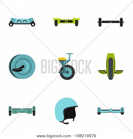 Electric scooter icon set. Flat style set of 9 electric scooter vector icons for web isolated on white background