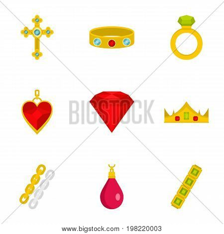Bijouterie icon set. Flat style set of 9 jewelry vector icons for web isolated on white background