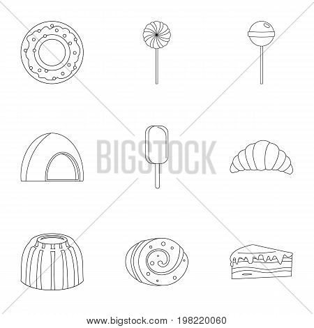 Sweets icon set. Outline style set of 9 sweet vector icons for web isolated on white background