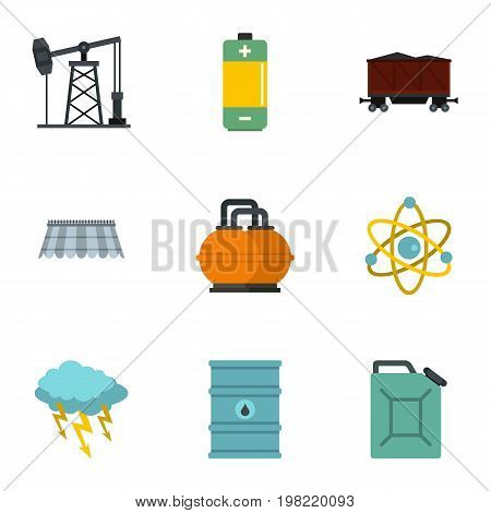Energy icon set. Flat style set of 9 energy sources vector icons for web isolated on white background