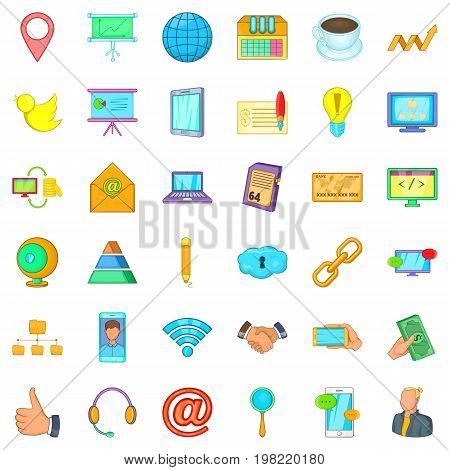 Finance company icons set. Cartoon style of 36 finance company vector icons for web isolated on white background