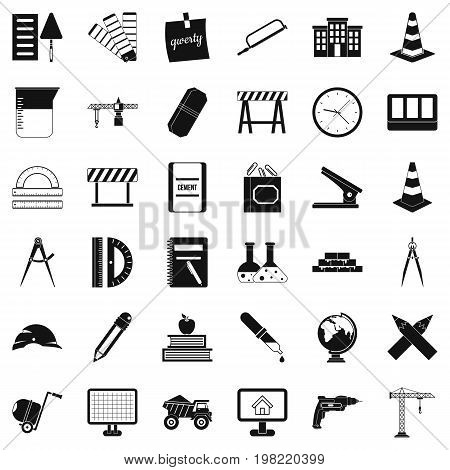 Instrument icons set. Simple style of 36 instrument vector icons for web isolated on white background