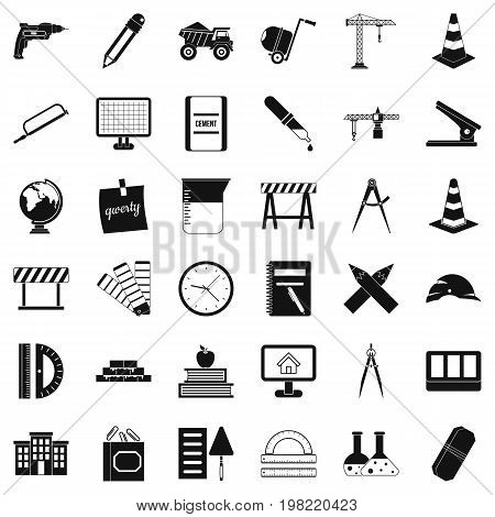 Compass instrument icons set. Simple style of 36 compass instrument vector icons for web isolated on white background