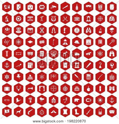 100 binoculars icons set in red hexagon isolated vector illustration