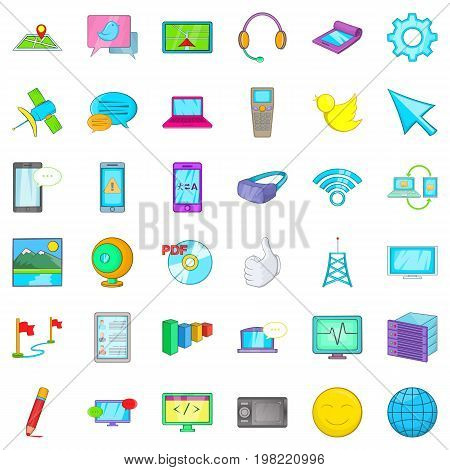 Computer play icons set. Cartoon style of 36 computer play vector icons for web isolated on white background