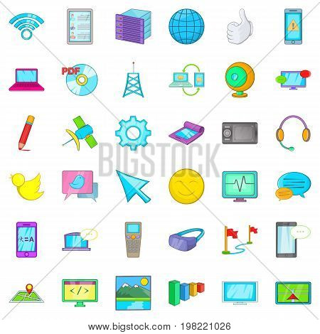 Computer page icons set. Cartoon style of 36 computer page vector icons for web isolated on white background