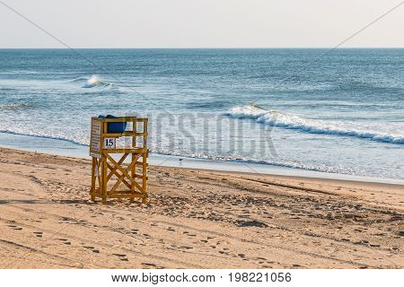 Lone lifeguard tower on the beach at the popular Virginia Beach, Virginia resort area.