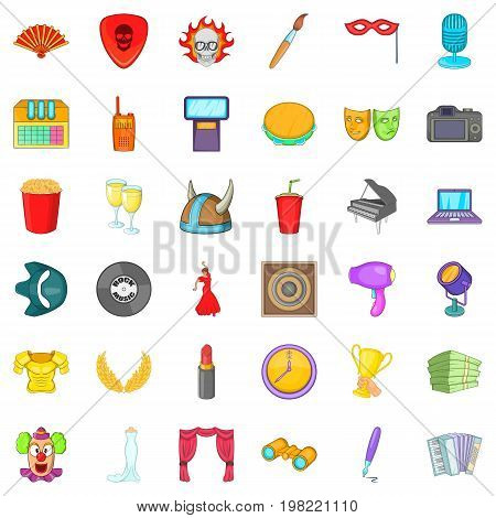 Big concert icons set. Cartoon style of 36 big concert vector icons for web isolated on white background