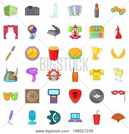 Entertainment icons set. Cartoon style of 36 entertainment vector icons for web isolated on white background