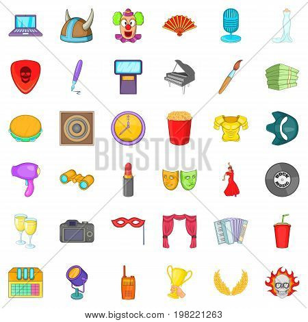 Music concert icons set. Cartoon style of 36 music concert vector icons for web isolated on white background
