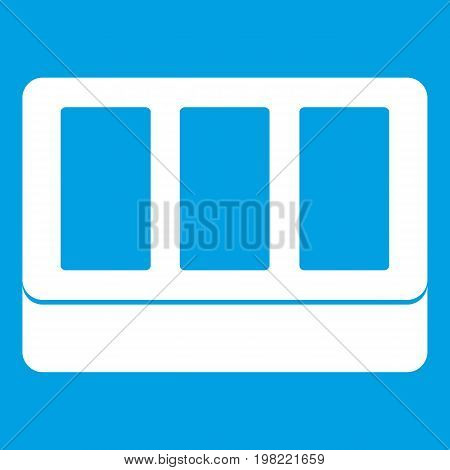 White window frame icon white isolated on blue background vector illustration