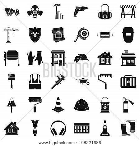 Construction bulldozer icons set. Simple style of 36 construction bulldozer vector icons for web isolated on white background