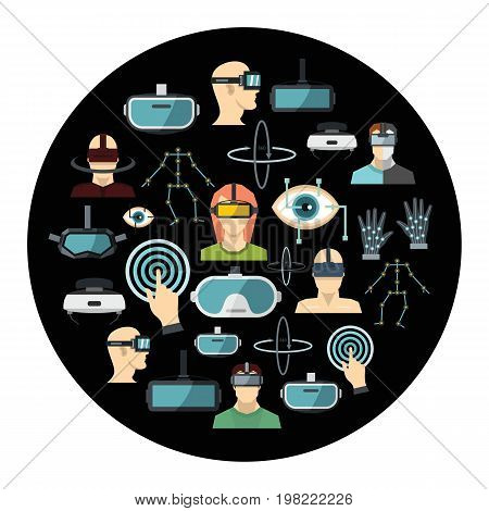 Virtual reality cartoon icons set vector illustration for design and web isolated on black circle background. Virtual reality vector object for labels  and advertising