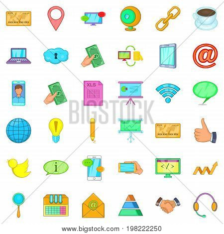 Contact phone icons set. Cartoon style of 36 contact phone vector icons for web isolated on white background