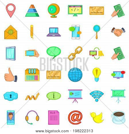 Our contact icons set. Cartoon style of 36 our contact vector icons for web isolated on white background