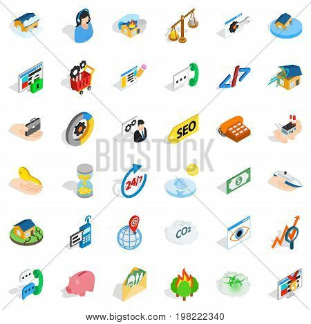 Contact us icons set. Isometric style of 36 contact us vector icons for web isolated on white background
