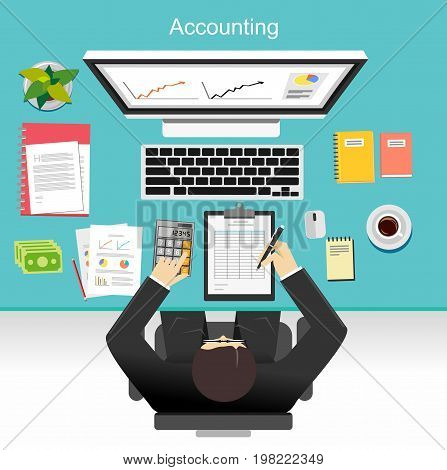 Business accounting concept illustration. Financial accounting. Professional business person analyzing on business dashboard on desktop