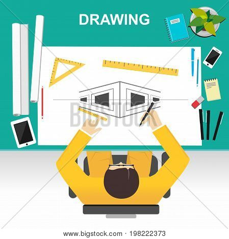 Architect drawing blueprint concept. Architect supplies. Illustration concepts for drawing, planning, development brainstorming.