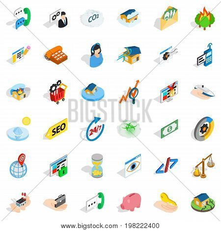 Call us icons set. Isometric style of 36 call us vector icons for web isolated on white background