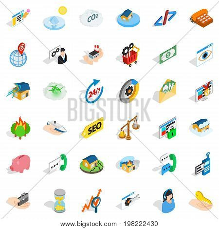 Writing form icons set. Isometric style of 36 writing form vector icons for web isolated on white background