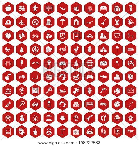 100 childhood icons set in red hexagon isolated vector illustration