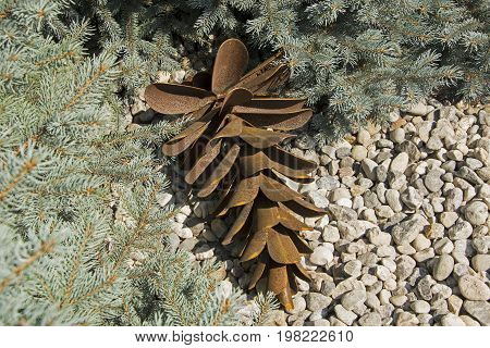Metallic spruce cone surrounded by blue spruce branches and stones