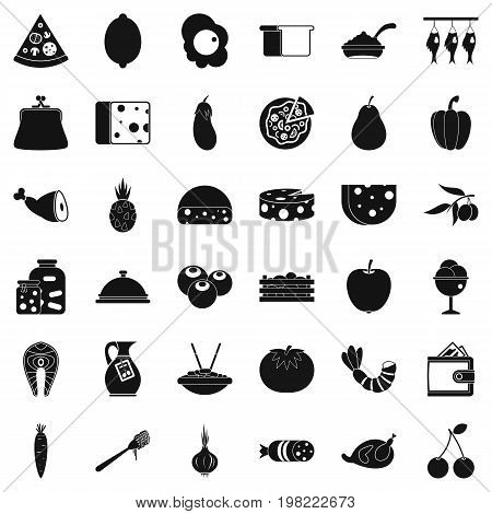 Meal icons set. Simple style of 36 meal vector icons for web isolated on white background