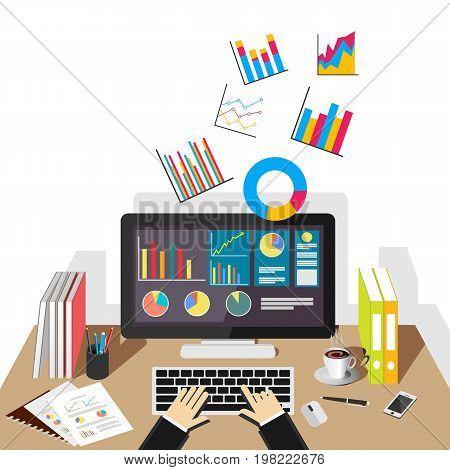 Business graph illustration. Flat design illustration concepts for business statistics, business analytics.