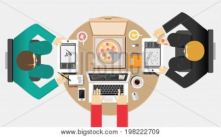 Informal meeting concept. Illustration concepts for teamwork, team meeting, discussion, brainstorming strategy