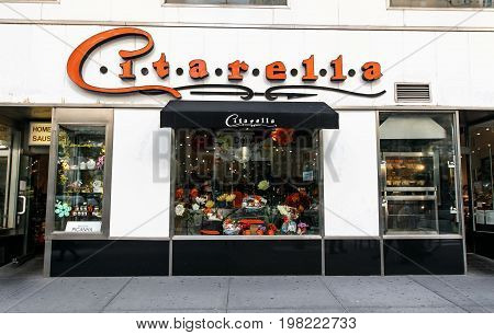 New York August 3 2017: The front of Citarella - a high end gourmet market located on Broadway.
