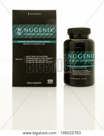 Winneconne WI -1 August 2017: A package of Nugenix ultimate testosterone tablets on an isolated background.