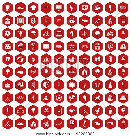 100 childrens playground icons set in red hexagon isolated vector illustration