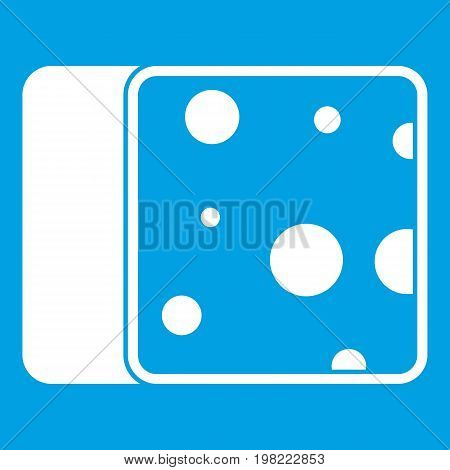Cheese icon white isolated on blue background vector illustration