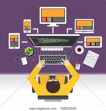 Web designer concept illustration. Flat design illustration concepts for web designer. web development. responsive web design. programming. programmer.