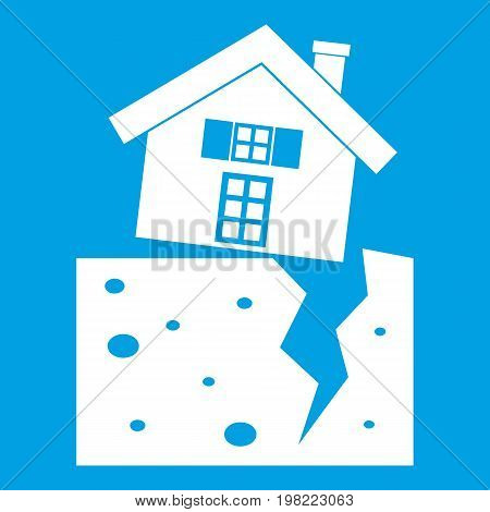 House after an earthquake icon white isolated on blue background vector illustration