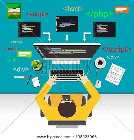 Web development illustration. Flat design illustration concepts for coding. Programmer.
