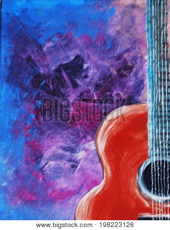 Acrylic Painting on Canvas of Acoustic Guitar on a Blue, Black and Violet Background