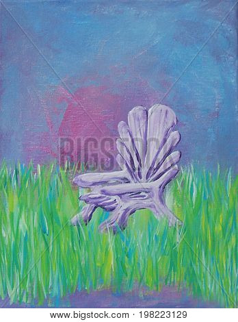 Acrylic Painting on Canvas of Adirondack Chair in Meadow using Greens, Blues, Violets, Pinks