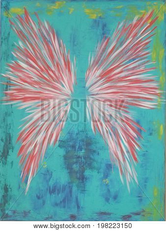 Acrylic Painting on Canvas of Wings on Blue Green Background with Yellow Accents