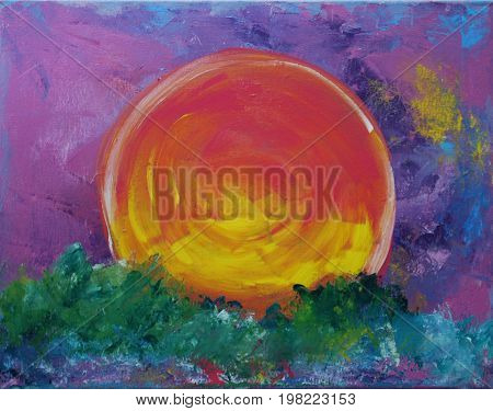 Acrylic Painting on Canvas of Yellow and Red Sunset on Green, Blue, Violet Background
