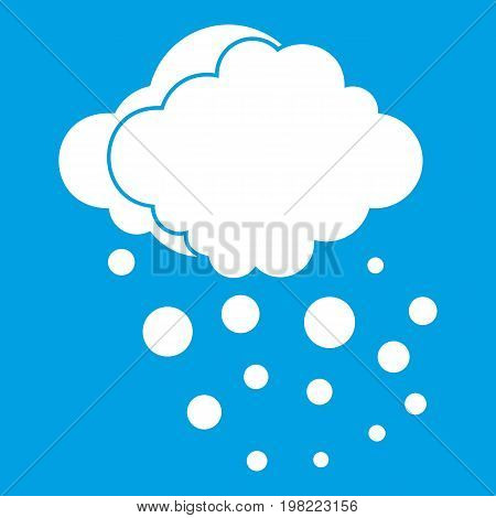 Cloud with hail icon white isolated on blue background vector illustration
