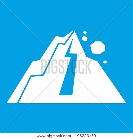 Rockfall icon white isolated on blue background vector illustration
