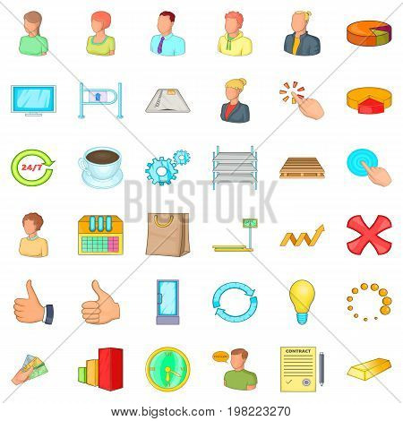 Finance corporation icons set. Cartoon style of 36 finance corporation vector icons for web isolated on white background