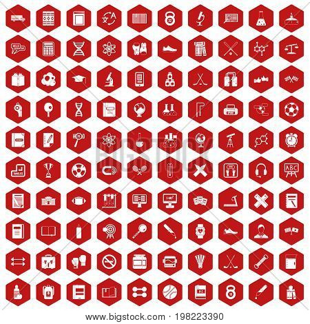 100 college icons set in red hexagon isolated vector illustration