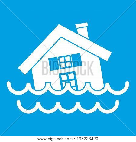 House sinking in a water icon white isolated on blue background vector illustration