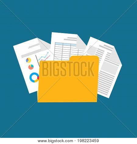 Business documents. business report. spreadsheet symbol. flat design